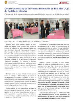 Décimo aniversario de la Primera Promoción de Titulados UCJC de