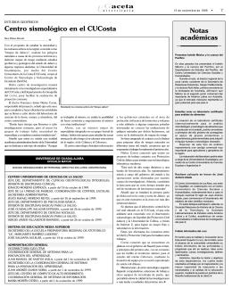 Notas académicas Centro sismológico en el CUCosta