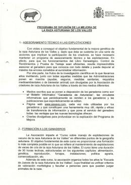Programa de difusión de la mejora de la Raza Asturiana de los Valles.