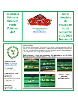 la Escuela Primaria Elizabeth Verde Volumen de2 De la directora