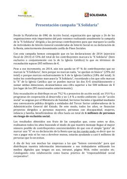 """Presentación campaña """"X Solidaria"""""""
