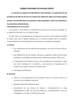 QUÍMICA SEGUNDO DE BACHILLERATO
