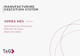 MANUFACTURING EXECUTION SYSTEM OPERA MES