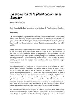 La evolución de la planificación en el Ecuador