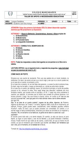COLEGIOMANZANARES TALLER DE APOYO A NECESIDADES