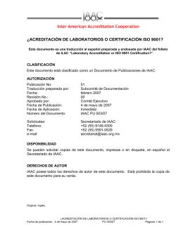 ACREDITACIÓN DE LABORATORIOS O CERTIFICACIÓN