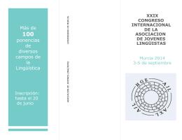 Folleto Asistentes - Congreso de la AJL 2014 en Murcia