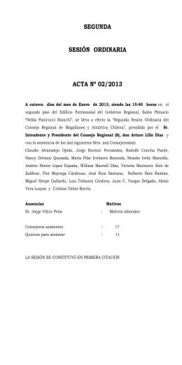 SEGUNDA SESIÓN ORDINARIA ACTA Nº 02/2013