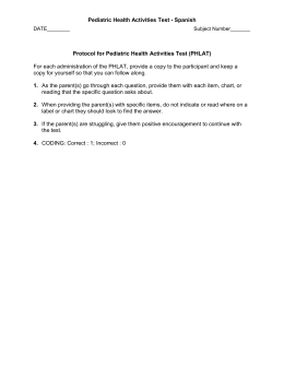 Pediatric Health Activities Test - Spanish Protocol for Pediatric