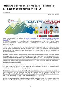 """""""Montañas, soluciones vivas para el desarrollo"""""""