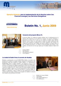 Boletín No. 1, Junio 2009