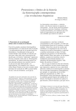 Pretensiones y límites de la historia La historiografía