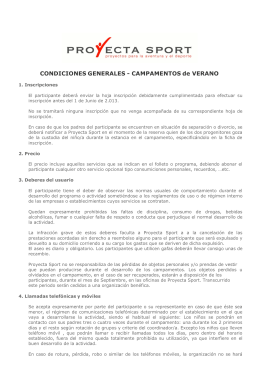 CONDICIONES GENERALES - CAMPAMENTOS