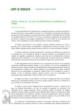 Decreto 164/2003 sobre campamentos de turismo