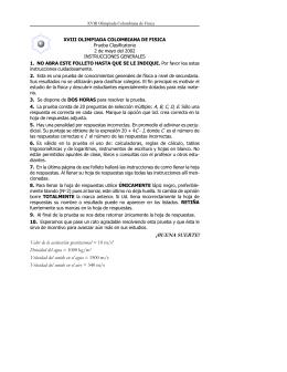 XVII Olimpiada Colombiana de Física. Prueba Clasificatoria 2002.