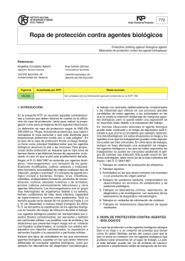 NTP 772: Ropa de protección contra agentes biológicos