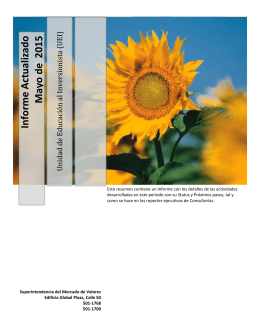 Informe Actualizado Mayo de 2015 - Superintendencia del Mercado