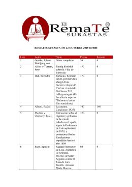 REMATES SUBASTA 153 22 OCTUBRE 2015 18:00H