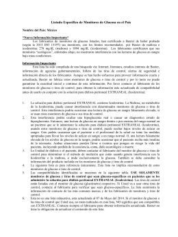 Listado Especifico de Monitores de Glucosa en el País