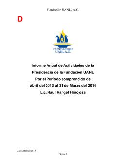 Informe Anual de Actividades de la Presidencia de la Fundación