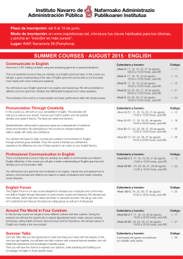 SUMMER COURSES · AUGUST 2015 · ENGLISH