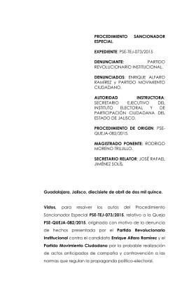 pse-tej-073/2015 denunciante - Tribunal Electoral del Estado de