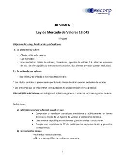 RESUMEN Ley de Mercado de Valores 18.045