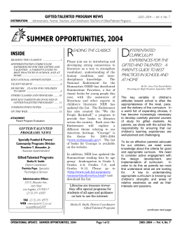 summer opportunities, 2004 - Los Angeles Unified School District