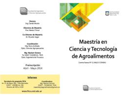 Maestría en Ciencia y Tecnología de Agroalimentos