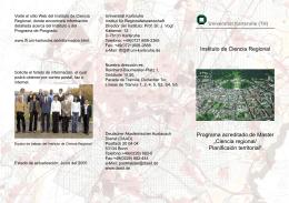 Instituto de Ciencia Regional Programa acreditado de Master