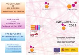 INNCORPORA 2011 Contratación de profesionales para participar