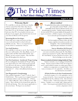 The Pride Times - St. Pius V School