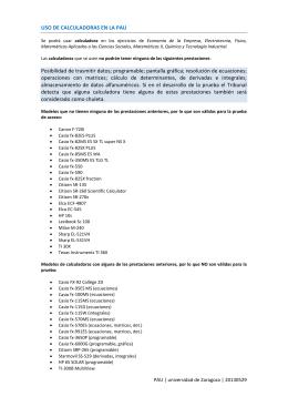 USO DE CALCULADORAS EN LA PAU Posibilidad de trasmitir