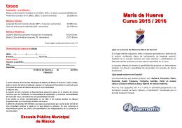 Inscripción en la ESCUELA de MÚSICA 2015/2016