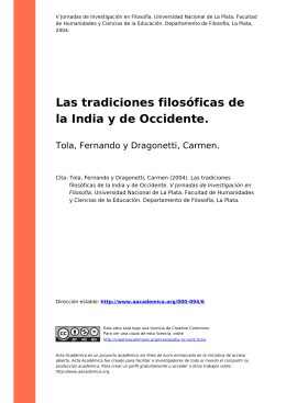 Las tradiciones filosóficas de la India y de Occidente