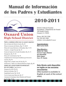 Manual de Información de los Padres y Estudiantes