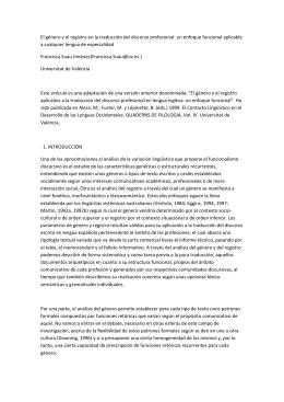 El género y el registro en la traducción del discurso profesional: un
