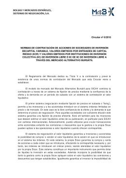 Circular 6/2010: Normas de contratación de acciones de SICAV