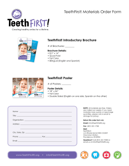 TeethFirst! Materials Order Form