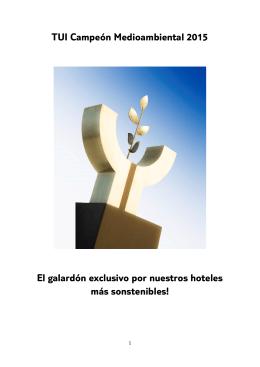 TUI Campeón Medioambiental 2015 El galardón