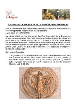 NORMAS para Funerales con Eucaristía en la Parroquia