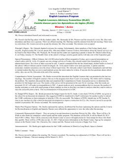 Comité Asesor para los Aprendices de Ingles (ELAC)