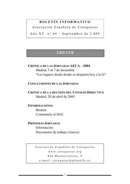 o Nº 44. Septiembre 2005 - Asociación Española de Catequetas