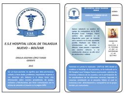 E.S.E HOSPITAL LOCAL DE TALAIGUA NUEVO – BOLÍVAR