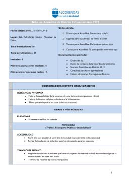 Informe de intervenciones Asamblea 2012. Distrito Urbanizaciones