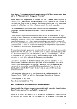 """Las obras de Abastecimiento de agua a Ourense""."