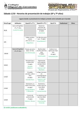 Sábado 1/10 - Horarios de presentación de trabajos (6º y 7º años)