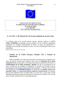 1. LECCIÓN 6: De Maastricht a la Europa ampliada de