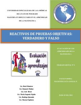 REACTIVOS DE PRUEBAS OBJETIVAS: VERDADERO Y FALSO