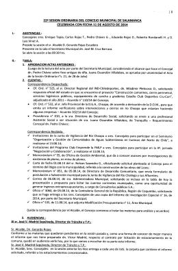 22a- SESIÓN ORDINARIA DEL CONCEJO MUNICIPAL DE
